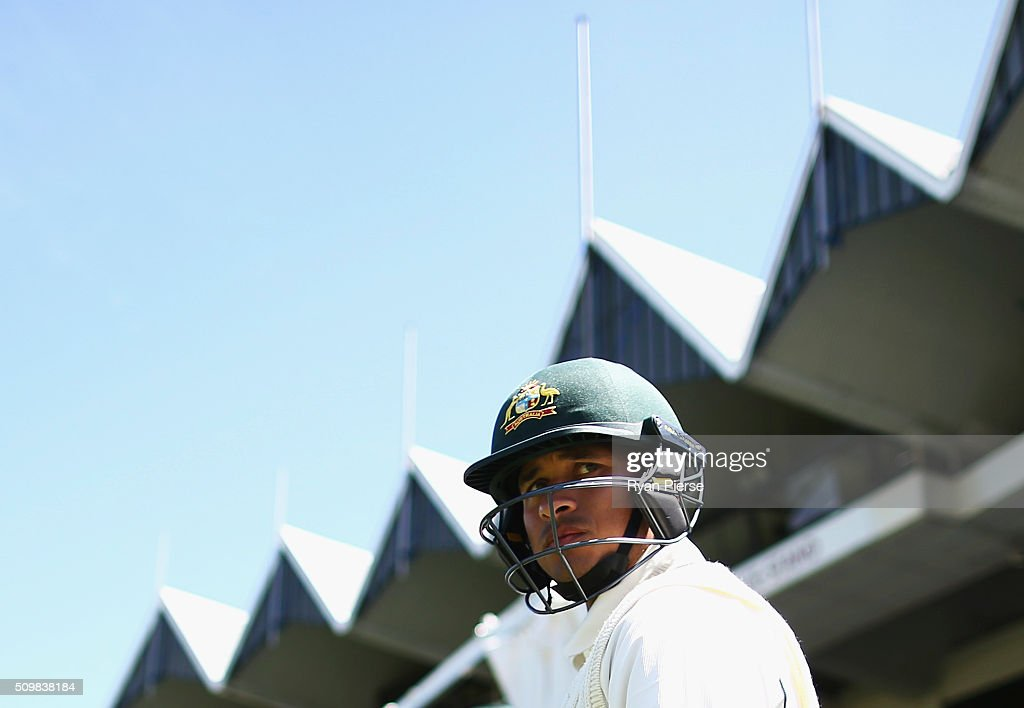 <a gi-track='captionPersonalityLinkClicked' href=/galleries/search?phrase=Usman+Khawaja&family=editorial&specificpeople=4953179 ng-click='$event.stopPropagation()'>Usman Khawaja</a> of Australia prepares to bat during day two of the Test match between New Zealand and Australia at Basin Reserve on February 13, 2016 in Wellington, New Zealand.