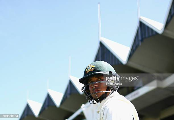 Usman Khawaja of Australia prepares to bat during day two of the Test match between New Zealand and Australia at Basin Reserve on February 13 2016 in...