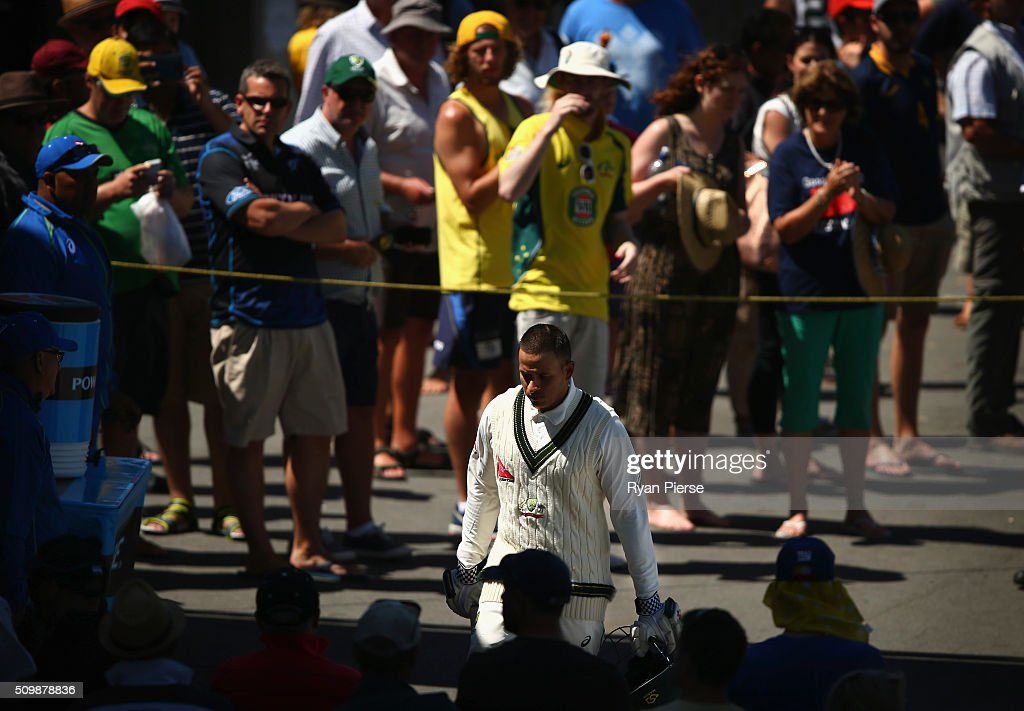 <a gi-track='captionPersonalityLinkClicked' href=/galleries/search?phrase=Usman+Khawaja&family=editorial&specificpeople=4953179 ng-click='$event.stopPropagation()'>Usman Khawaja</a> of Australia walks from the ground after being dismissed for 140 runs by Trent Boult of New Zealand during day two of the Test match between New Zealand and Australia at Basin Reserve on February 13, 2016 in Wellington, New Zealand.