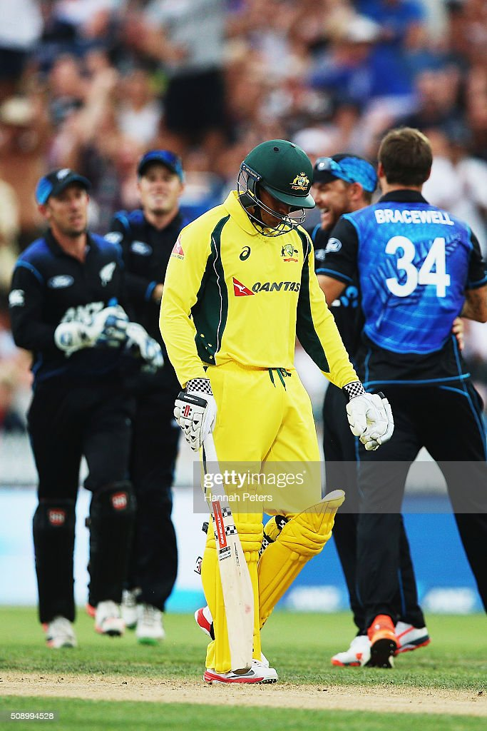 <a gi-track='captionPersonalityLinkClicked' href=/galleries/search?phrase=Usman+Khawaja&family=editorial&specificpeople=4953179 ng-click='$event.stopPropagation()'>Usman Khawaja</a> of Australia walks off after being dismissed by Doug Bracewell of the Black Caps during the 3rd One Day International cricket match between the New Zealand Black Caps and Australia at Seddon Park on February 8, 2016 in Hamilton, New Zealand.