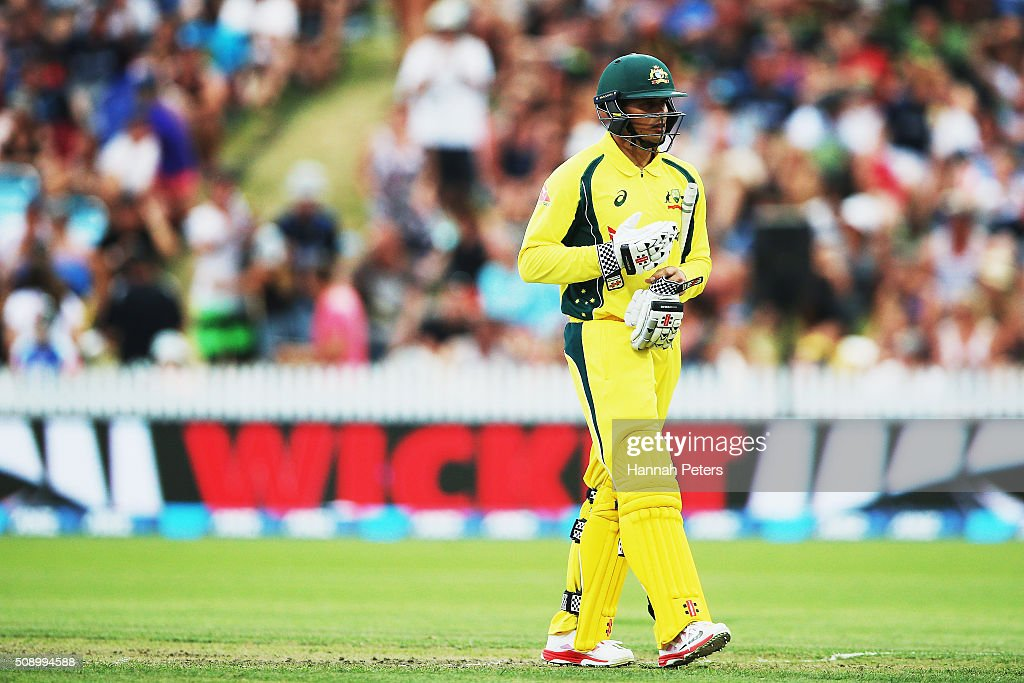Usman Khawaja of Australia walks off after being dismissed by Doug Bracewell of the Black Caps during the 3rd One Day International cricket match between the New Zealand Black Caps and Australia at Seddon Park on February 8, 2016 in Hamilton, New Zealand.