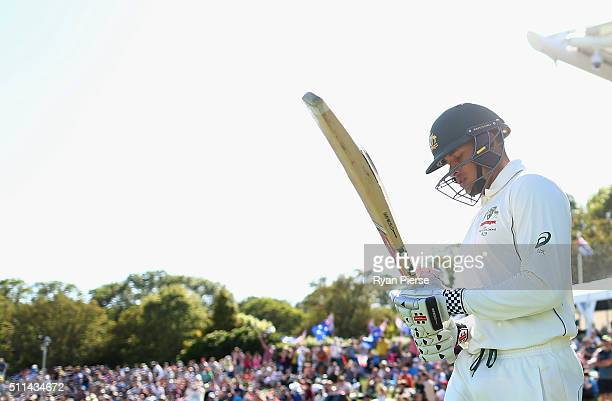 Usman Khawaja of Australia walks out to bat during day two of the Test match between New Zealand and Australia at Hagley Oval on February 21 2016 in...