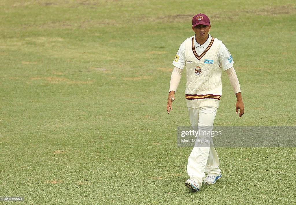 <a gi-track='captionPersonalityLinkClicked' href=/galleries/search?phrase=Usman+Khawaja&family=editorial&specificpeople=4953179 ng-click='$event.stopPropagation()'>Usman Khawaja</a> of the Bulls looks on during day one of the Sheffield Shield match between the New South Wales Blues and the Queensland Bulls at Sydney Cricket Ground on November 22, 2013 in Sydney, Australia.