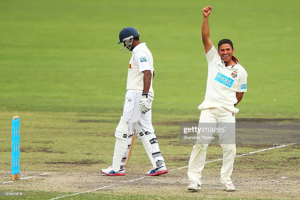 <a gi-track='captionPersonalityLinkClicked' href=/galleries/search?phrase=Usman+Khawaja&family=editorial&specificpeople=4953179 ng-click='$event.stopPropagation()'>Usman Khawaja</a> of the Chairman's XI celebrates after claiming the wicket of Kumar Sangakkara of Sri Lanka during day two of the international tour match between the Chairman's XI and Sri Lanka at Manuka Oval on December 7, 2012 in Canberra, Australia.
