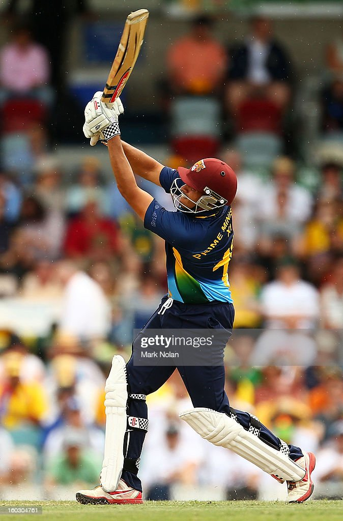 Usman Khawaja of the PM's XI bats during the International Tour Match between the Prime Minister's XI and West Indies at Manuka Oval on January 29, 2013 in Canberra, Australia.