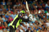 Usman Khawaja of the Sydney Thunder bats during the Big Bash League Semi Final match between the Adelaide Strikers and the Sydney Thunder at Adelaide...
