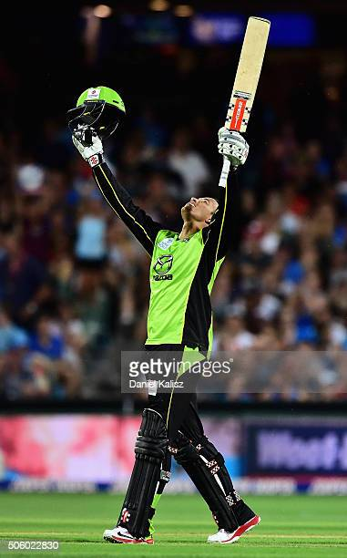 Usman Khawaja of the Sydney Thunder reacts after reaching his century during the Big Bash League Semi Final match between the Adelaide Strikers and...