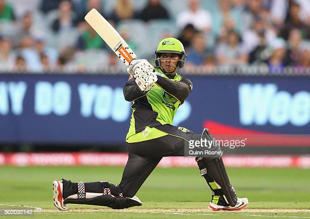 Usman Khawaja of the Thunder bats during the Big Bash League match between Melbourne Stars and Sydney Thunder at Melbourne Cricket Ground on December...