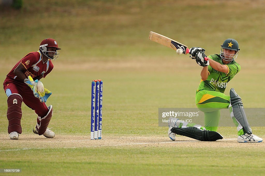 Usman Qadir of Pakistan bats during the ICC U19 Cricket World Cup 2012 Semi Final match between Pakistan and the West Indies at Endeavour Park on August 22, 2012 in Townsville, Australia.