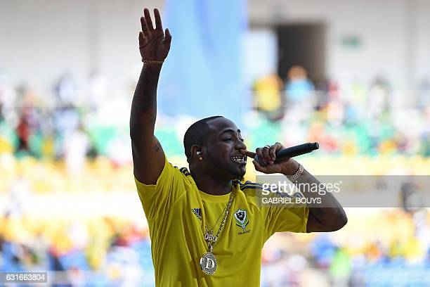 USNigerian rapper Davido performs during the opening ceremony of the 2017 Africa Cup of Nations football tournament at the Stade de l'Amitie...