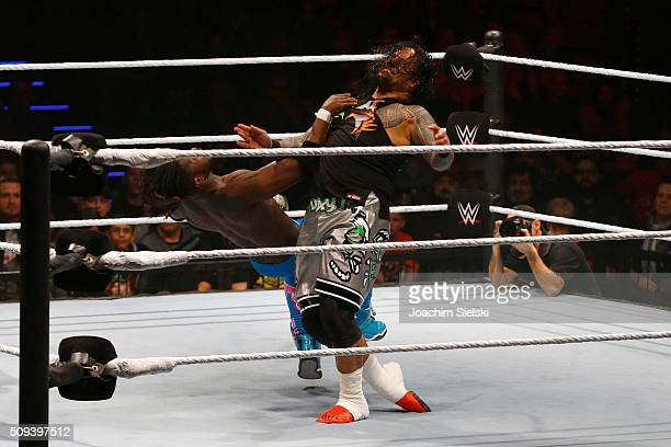 Usos challenges The new day during WWE Germany Live Bremen Road To Wrestlemania at OVBArena on February 10 2016 in Bremen Germany