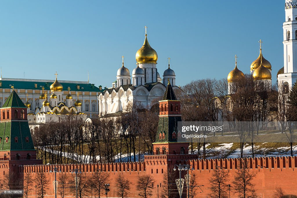 Uspensky and Blagoveschensky cathedrals of  Moscow Kremlin. Russia : Stock Photo