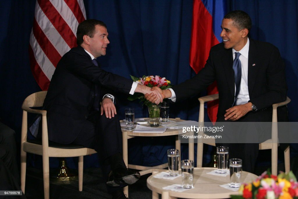 U.S.President Barack Obama (R) shakes hands with his Russian counterpart Dmitry Medvedev after the session of United Nations Climate Change Conference December 18, 2009 in Copenhagen, Denmark. World leaders will try to reach agreement on targets for reducing the earth's carbon emissions on this last day of the summit.