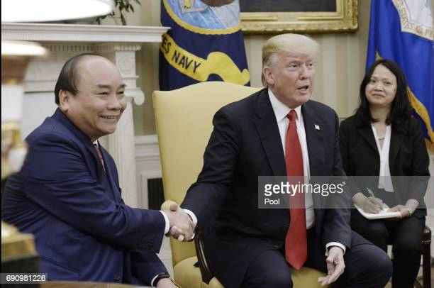 USPresident Donald Trump meets with Prime Minister Nguyen Xuan Phuc of Vietnam in the Oval Office of the White House on May 31 2017 in Washington DC