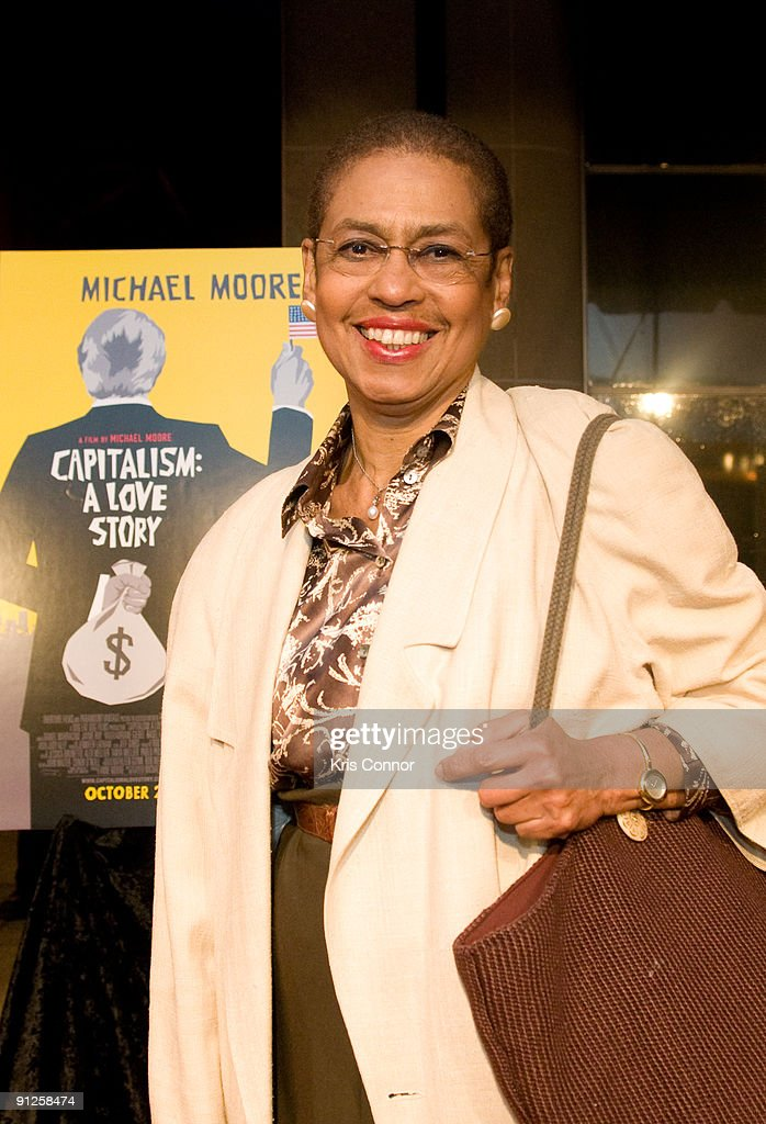 Rep. <a gi-track='captionPersonalityLinkClicked' href=/galleries/search?phrase=Eleanor+Holmes+Norton&family=editorial&specificpeople=642872 ng-click='$event.stopPropagation()'>Eleanor Holmes Norton</a> (D-DC) poses on the red carpet of the Washington DC premiere of 'Capitalism: A Love Story' at AMC Uptown Theater on September 29, 2009 in Washington, DC.