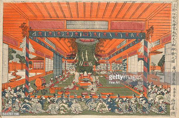 Utagawa Toyoharu 17351814Ukie isedaijingu ryosho daidaimikagura no zu Date Created/Published between 1767 and 1770 Color woodcut print 254 x 387 cm...