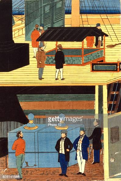 Utagawa Yoshikazu Japanese school Crosssection of a European ship showing men in European dress on deck top and men on the lower deck Yokahama Japan...