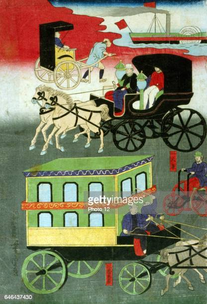 Utagawa Yoshitoro Japanese school Panel from a triptych showing various forms of transportation Paddle steamship Rickshaw Passenger carriage Tricycle...