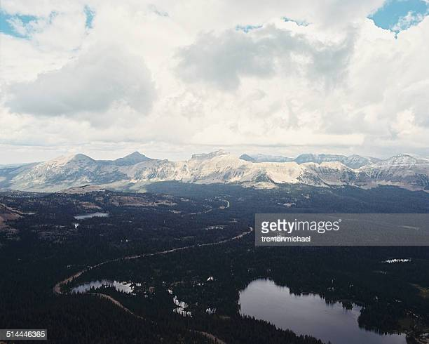USA, Utah, Aerial view of Uinta National Forest and Mirror Lake from atop of Bald Mountain