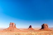 USA, Utah, Arizona, Navajo Nation, Monument Valley, Mittens, View of rock formations in desert