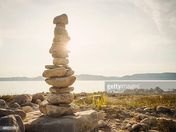 USA, Utah, Bear Lake, Stack of stones by lake