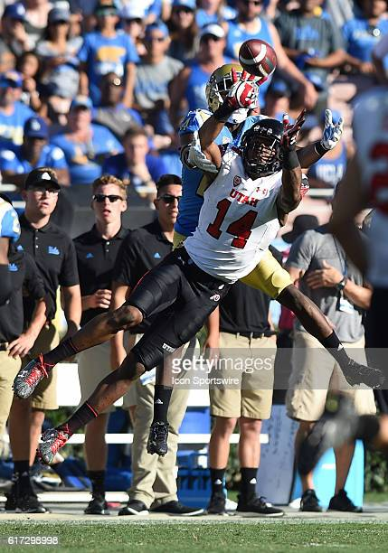 Utah Brian Allen intercepts a pass in the fourth quarter during an NCAA football game between the Utah Utes and the UCLA Bruins on October 22 at the...