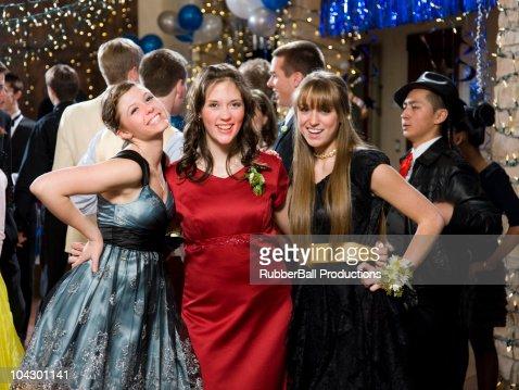 USA, Utah, Cedar Hills, Portrait of teenage girls (14-17) at high school prom