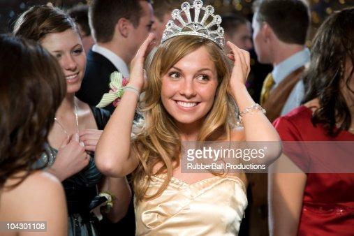 USA, Utah, Cedar Hills, Teenage girl (16-17) wearing tiara at high school prom