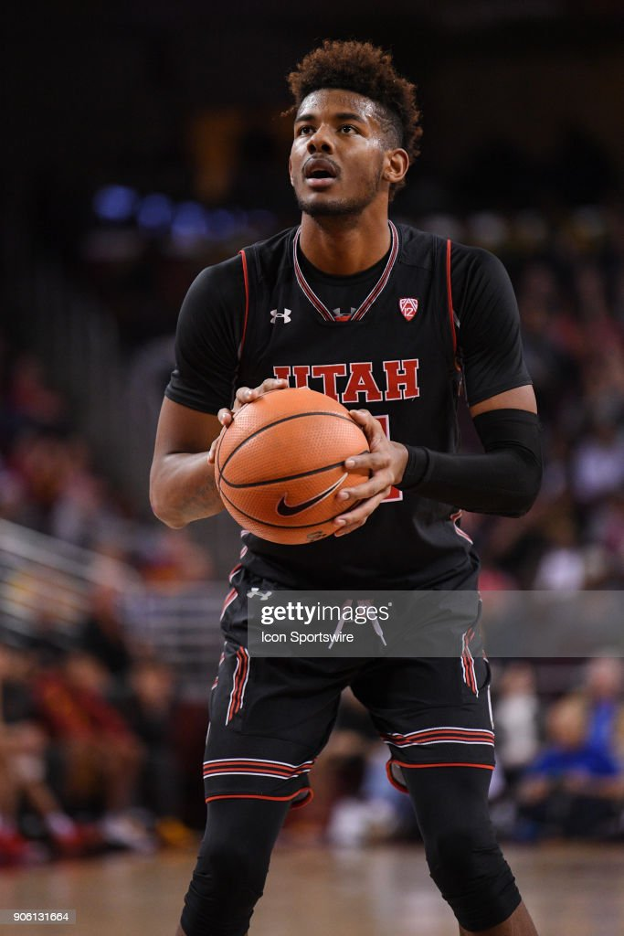 Utah forward Chris Seeley (11) shoots a free throw during a college basketball game between the Utah Utes and the USC Trojans on January 14, 2018, at the Galen Center in Los Angeles, CA.