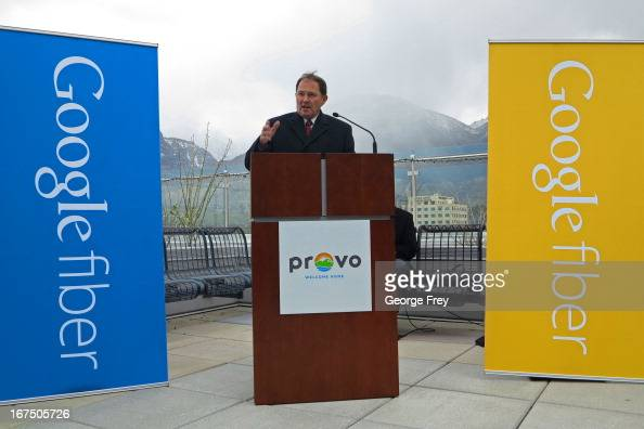 Utah Governor Gary Herbert speaks at the Provo Convention Center to announce that the city has been chosen as the third city in the country to get...