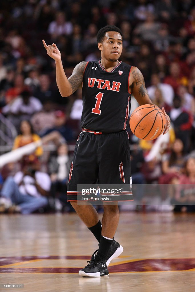 Utah guard Justin Bibbins (1) calls out a play during a college basketball game between the Utah Utes and the USC Trojans on January 14, 2018, at the Galen Center in Los Angeles, CA.