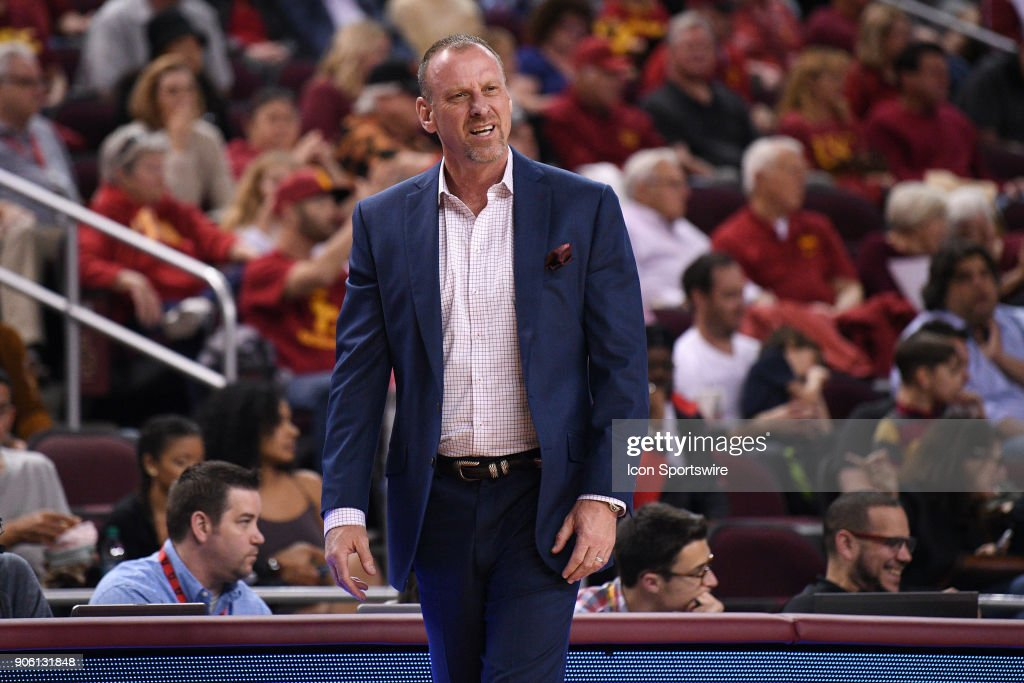 Utah head coach Larry Krystkowiak looks on during a college basketball game between the Utah Utes and the USC Trojans on January 14, 2018, at the Galen Center in Los Angeles, CA.