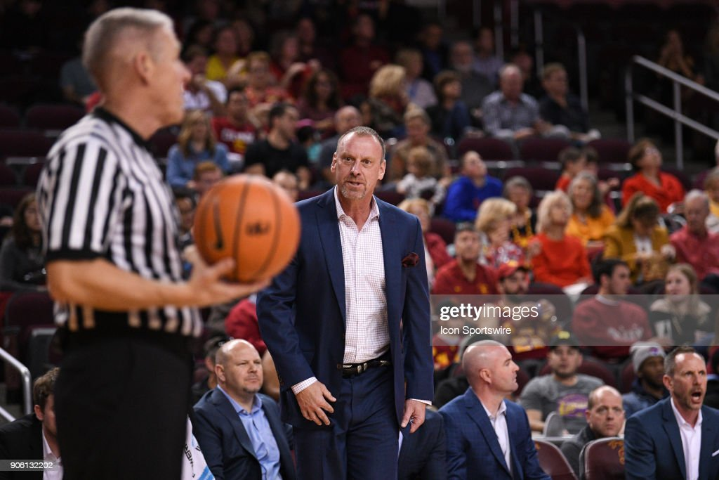 Utah head coach Larry Krystkowiak stares down the official during a college basketball game between the Utah Utes and the USC Trojans on January 14, 2018, at the Galen Center in Los Angeles, CA.