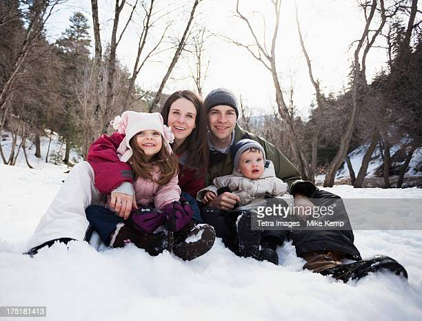 USA, Utah, Highland, Family portrait with two children (2-3, 12-17 months)