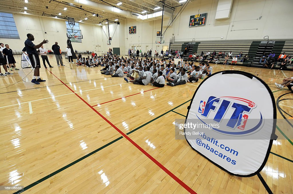 Utah Jazz Assistant Coach Mike Sanders address participants of a NBA Cares Basketball Clinic as part of the 2013 NBA Draft Combine on May 18, 2013 at Quest Multiplex in Chicago, Illinois.