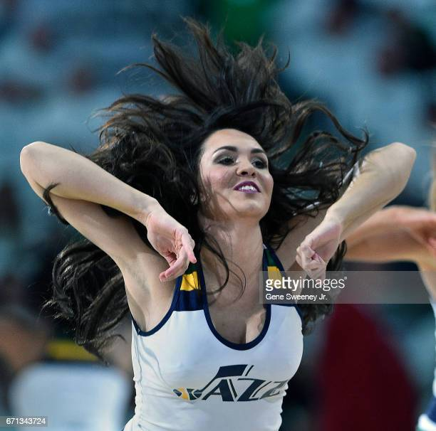 Utah Jazz cheerleader performs during the game between the Jazz and the Los Angeles Clippers in Game Three of the Western Conference Quarterfinals...