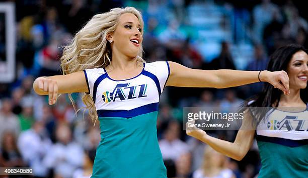 Utah Jazz cheerleader performs during the game between the Portland Trail Blazers and the Jazz at Vivint Smart Home Arena on November 4 2015 in Salt...