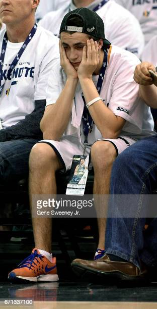 Utah Jazz fan reacts in the last seconds to the 111106 loss by the Jazz to the Los Angeles Clippers in Game Three of the Western Conference...