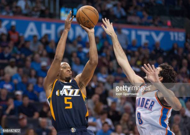 Utah Jazz Guard Rodney Hood shooting a jump shot over Oklahoma City Thunder Guard Alex Abrines on February 28 at the Chesapeake Energy Arena Oklahoma...
