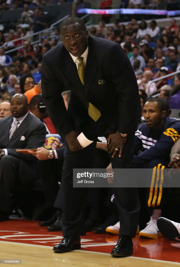 Utah Jazz head coach <a gi-track='captionPersonalityLinkClicked' href=/galleries/search?phrase=Tyrone+Corbin&family=editorial&specificpeople=829288 ng-click='$event.stopPropagation()'>Tyrone Corbin</a> looks on against the Los Angeles Clippers during the second half of a preseason game at Staples Center on October 17, 2012 in Los Angeles, California. The Clippers defeated the Jazz 96-94.