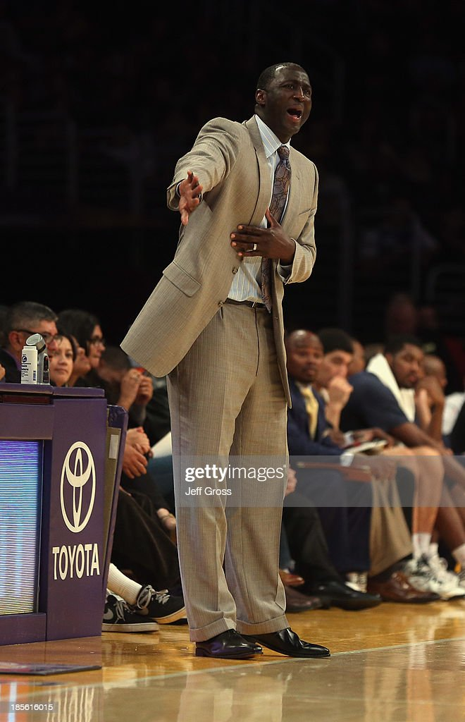 Utah Jazz head coach <a gi-track='captionPersonalityLinkClicked' href=/galleries/search?phrase=Tyrone+Corbin&family=editorial&specificpeople=829288 ng-click='$event.stopPropagation()'>Tyrone Corbin</a> yells instructions to his team during the game against the Los Angeles Lakers at Staples Center on October 22, 2013 in Los Angeles, California. The Lakers defeated the Jazz 108-94.