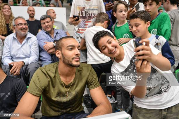 Utah Jazz player Rudy Gobert in the stands during the Pro A match between Nanterre and Paris Levallois on May 16 2017 in Nanterre France