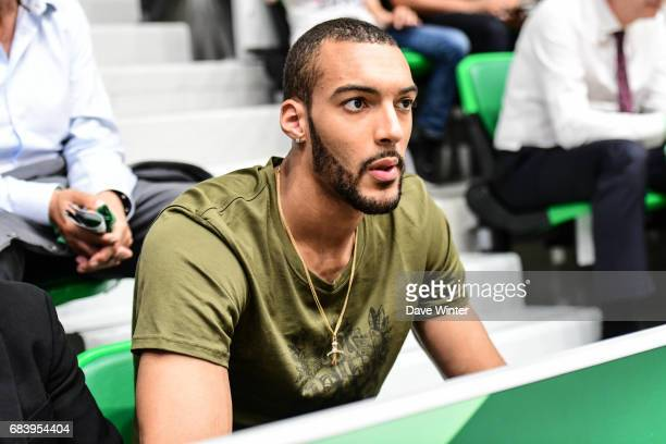 Utah Jazz player Rudy Gobert in the tribunes during the Pro A match between Nanterre and Paris Levallois on May 16 2017 in Nanterre France