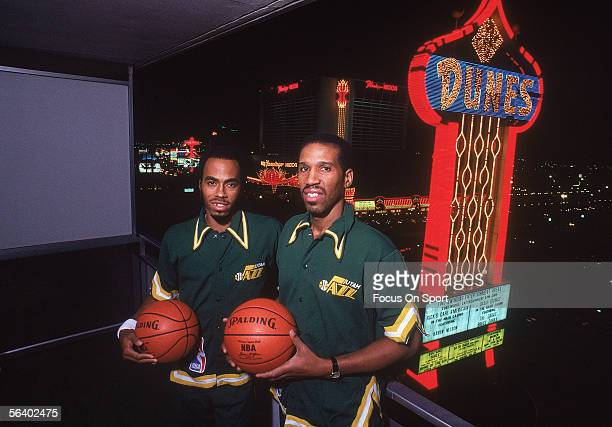 Utah Jazz players Darrell Griffith and Adrian Dantley pose near the Dunes Hotel circa the 1980's in Las Vegas Nevada