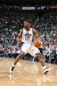 Utah Jazz point guard Ronnie Price brings the ball up court during the game against the New Orleans Hornets at EnergySolutions Arena on March 24 2011...