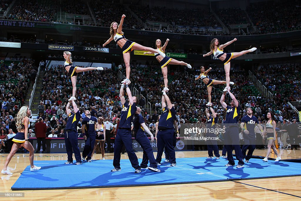 Utah Jazz Stunt Team preforms during a timeout against the Indiana Pacers at Energy Solutions Arena on January 26, 2013 in Salt Lake City, Utah.