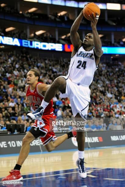 Utah Jazz's Paul Millsap jumps for the basket