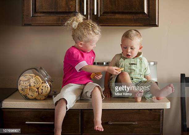 USA, Utah, Lehi, Baby boy and girl (1-3) sharing cookies on kitchen worktop