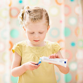 USA, Utah, Lehi, girl (2-3) brushing teeth