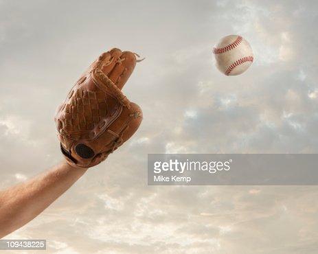 USA, Utah, Lehi, hand of baseball player catching baseball